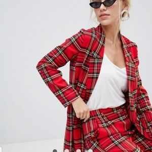 Plaid longline blazer